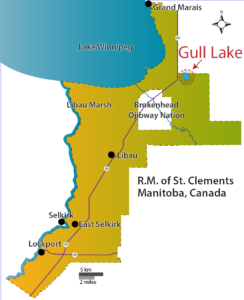 Map of Gull Lake in the RM of St. Clements, Manitoba